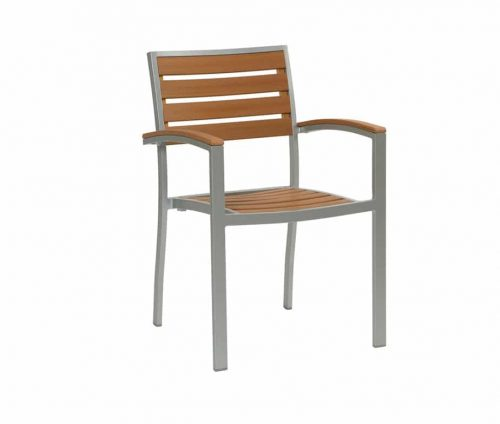 Villa Teak Effect Outdoor Stacking Armchairs