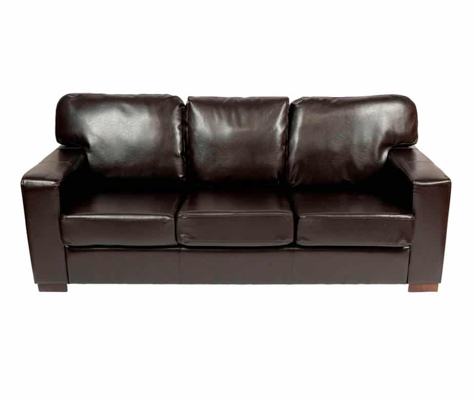Chunky 3 Seater Sofa Dark Brown Faux Leather 5 Day Delivery Time UK Only