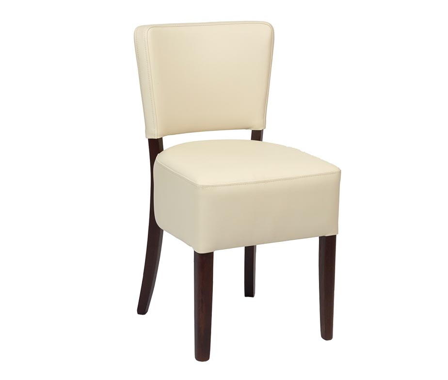 Trent Dining Chair Upholstered In Cream Or Brown Faux