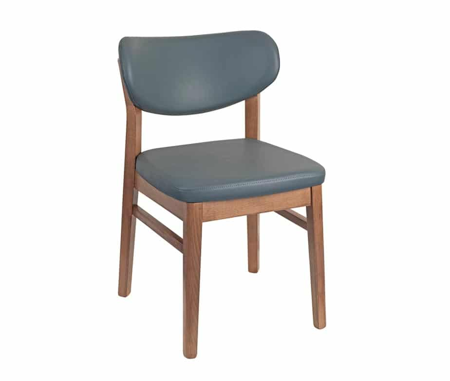 Angel Side Chair Oak Legs Grey Faux Leather