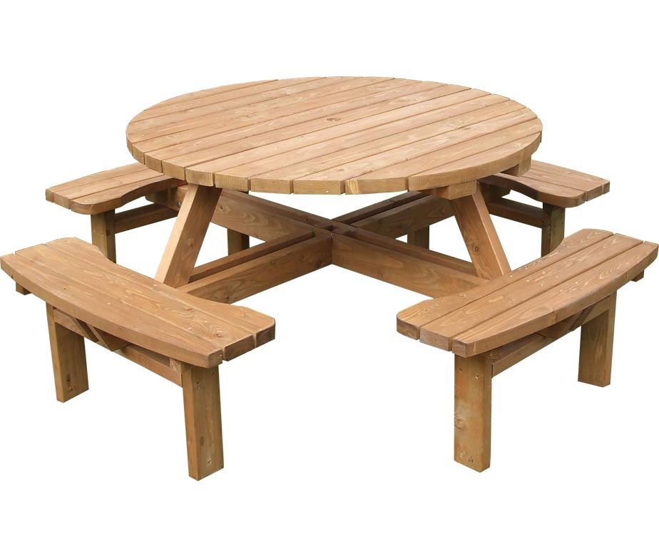 Round Beer Garden Table Seating 8 People High Quality Design
