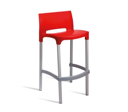 Chopin Outdoor Bar Stools In Red White And Black Plastic