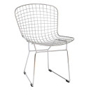 Chrome Mesh Sled Leg Dining Chairs