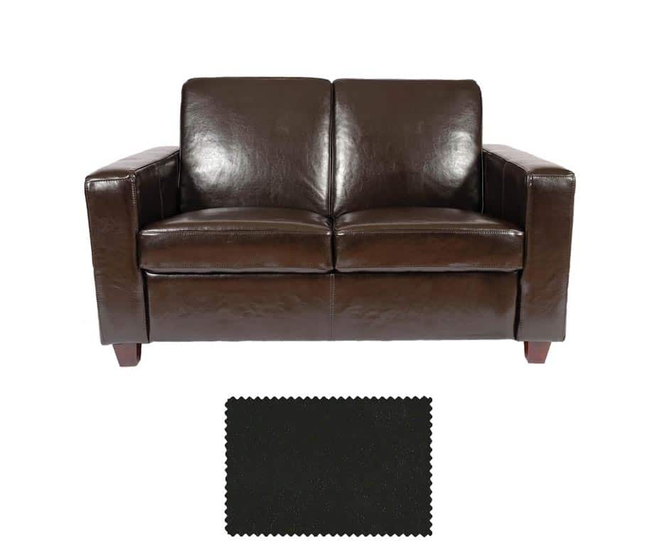 ... Classic 2 Seater Black Leather Sofa ...