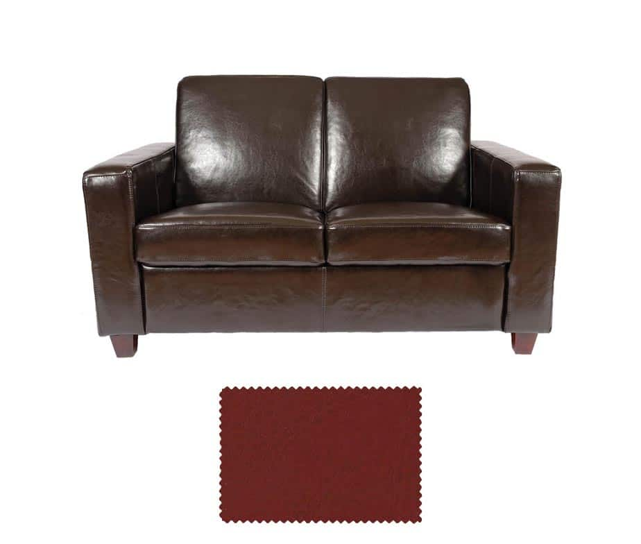 Classic 2 Seater Leather Sofa Available In Red Black