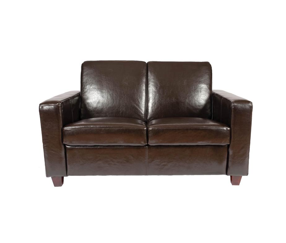 Classic 2 Seater Leather Sofa Available in Red, Black, Cream & Brown