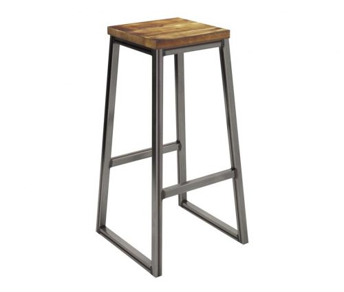Cromwell INdustrial Bar Stool - Wooden Top