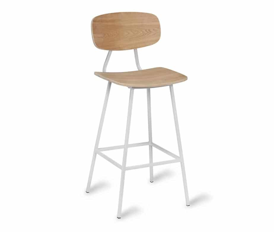 Florence Bar Stools Retro Style With Metal Frame Wooden Seat Back