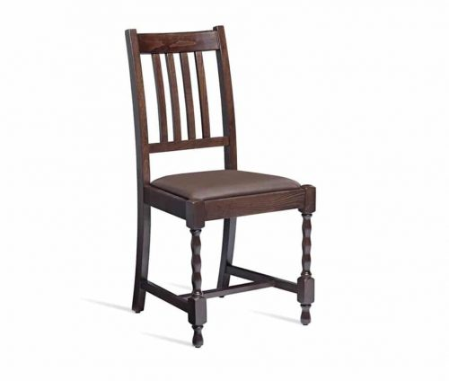 Harbour Pub Chairs Walnut Stain Brown Faux Leather
