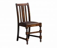 King Pub Chairs Walnut Stain Brown Faux Leather