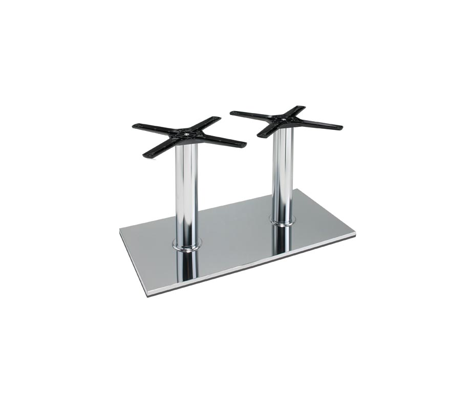Lucido Twin Pedestal 4 Seater Chrome Coffee Table Base