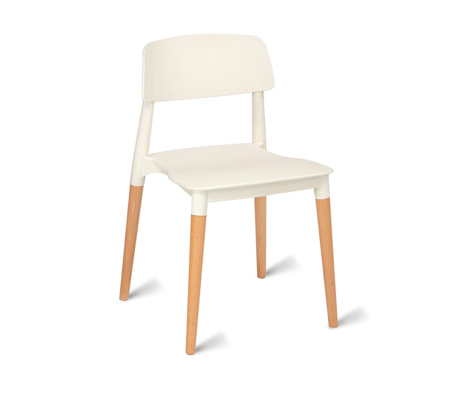 Luna Plastic Cafe Chairs Wooden Legs White Frame ...
