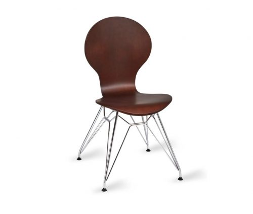 Mile Chrome Eiffel Cafe Chairs Wenge