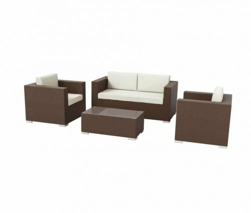 Outdoor Rattan Sofa Set Brown