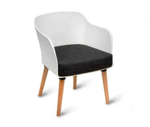 Poppy Armchair White Shell Natural Legs
