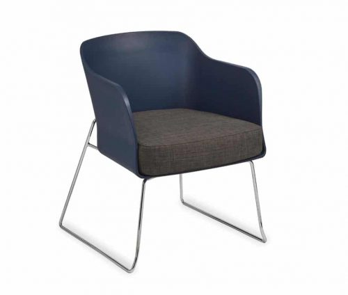 Poppy Tub Chair Skid Frame Blue