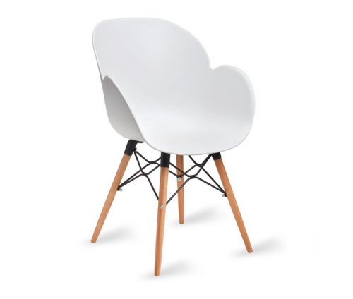 Shoreditch Armchair White Shell Wooden Legs