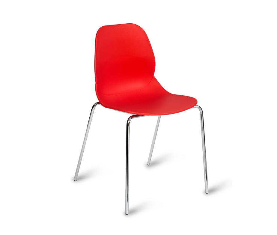 Cordial Cafe Chairs In White Red And Black With Chrome Legs
