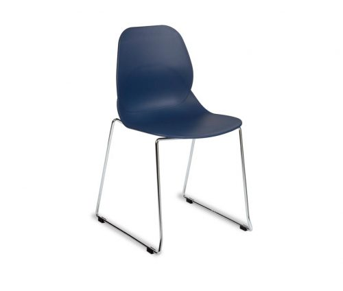Shoreditch Chrome Skid Chair Blue