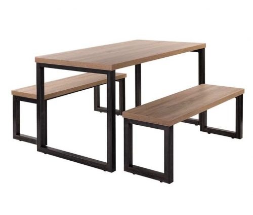 Tokyo Dining Table & Bench Set Steel Frame Oak Top