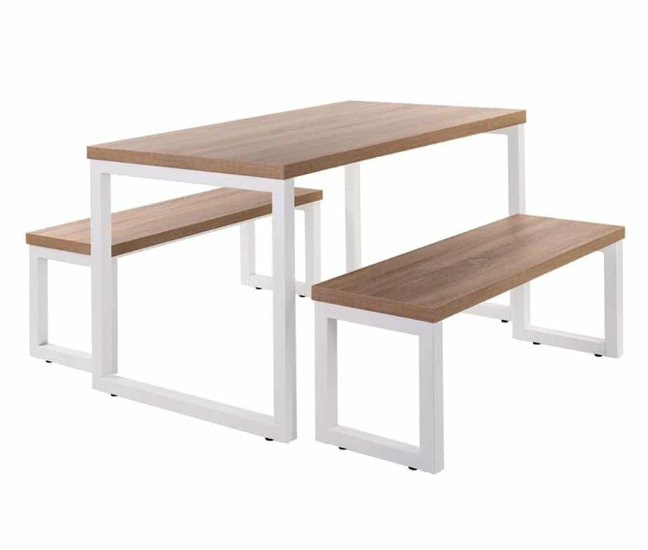 Tokyo Dining Table & Bench Set White Frame Oak Top