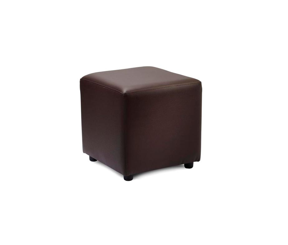 Upholstered Cube Stools In Brown Or Black Faux Leather