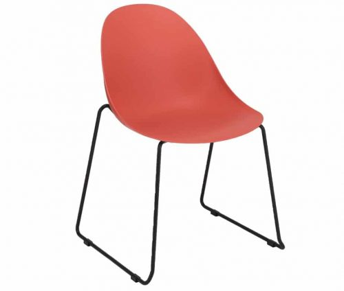 Vivid Skid Frame Side Chair Red